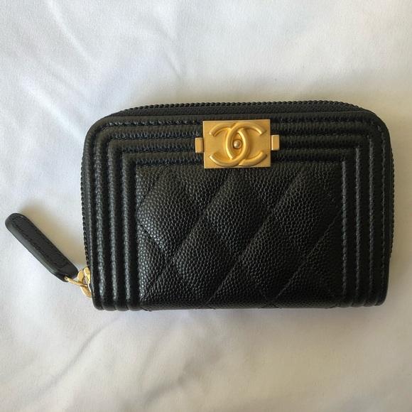 de3a13f3e68 NIB Chanel Caviar Boy Zip Coin Purse Wallet GHW